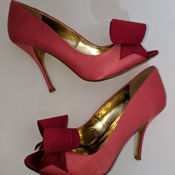 Pink and Red Satin Ted Baker Pumps - sz 8.5